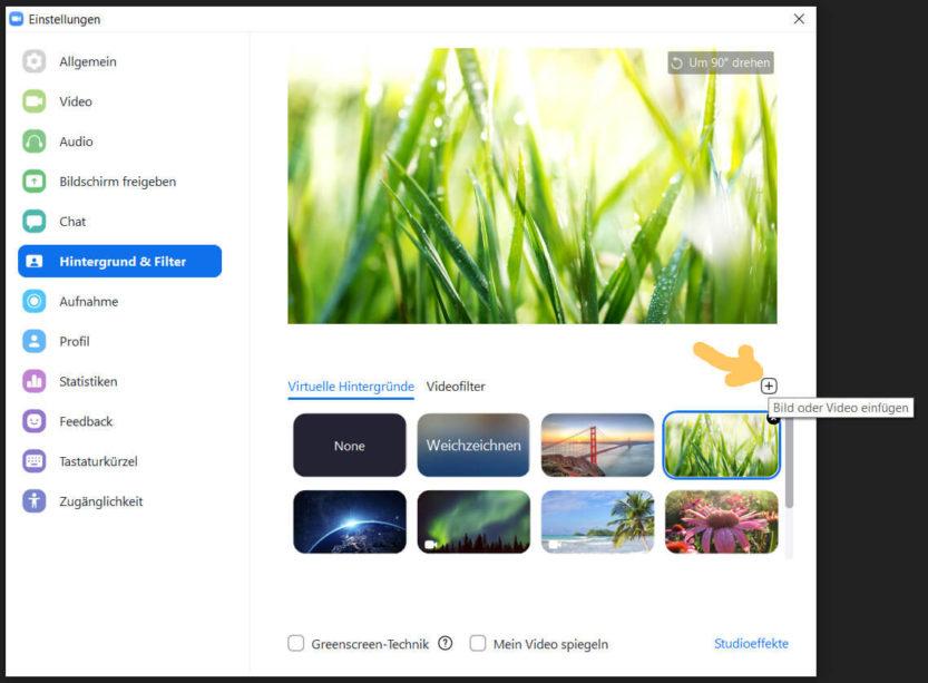 Virtueller Hintergrund in Zoom hochladen