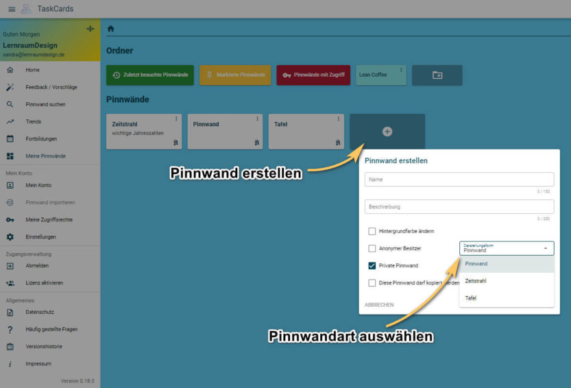 Pinnwand erstellen in TaskCards